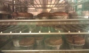 Chocolate Souffle in oven