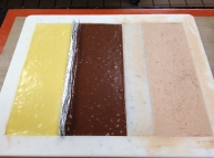 This frame is for a Strawberry Balsamic Butter Ganache (that's passionfruit on the left for a different confection).