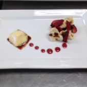 I plated this as a sort of deconstructed strawberry shortcake using tufts of pine nut angel food cake