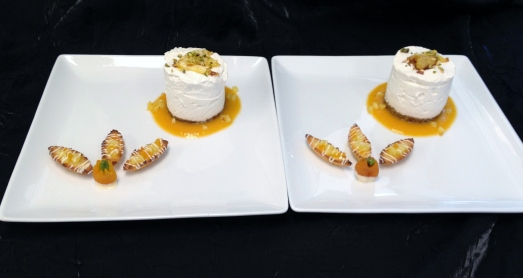 Coconut Rum Mousse with Roasted Pineapple, Apricot Sauce, and Coconut Macaroon Barquettes