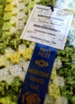 This pretty Blue ribbon winner (lots of ribbons for this entrant, including the next photo) is one of the people whose baked goods got slammed. I was happy to see his or her talents appreciated elsewhere in the Exhibit Hall.