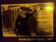 Annie Edson Taylor, first person to go over the falls in a barrel -- with her cat!