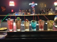 Bartending School! Set 'um up. Two minutes to do 14 drinks.